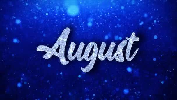 Augusztus kék szöveg kívánja részecskék köszöntések, meghívó, ünnepi háttér