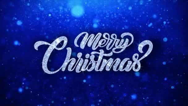 Veselý vánoční modrý text přání částice pozdravy, pozvánka, pozadí oslavy