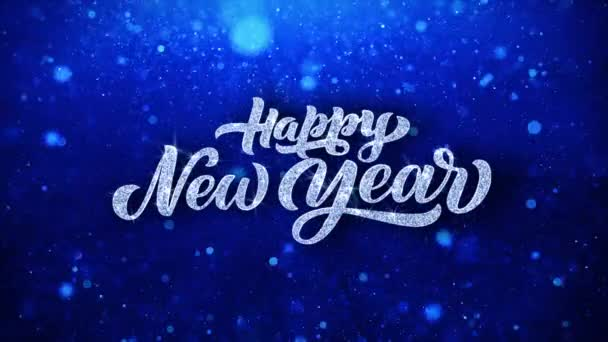 Happy New Year Blue Text Wishes Particles Greetings, Invitation, Celebration Background