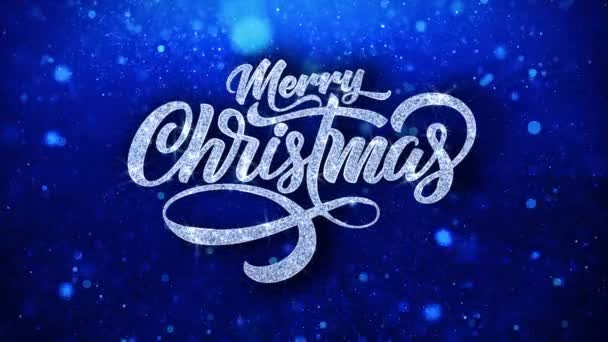 Merry Christmas Blue Text Wishes Particles Greetings, Invitation, Celebration Background