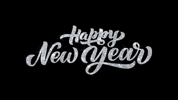 Happy New Year Blinking Text Wishes Particles Greetings, Invitation, Celebration Background