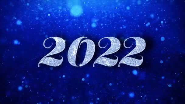 2022 Happy New Year Blue Text Wishes Particles Greetings, Invitation, Celebration Background