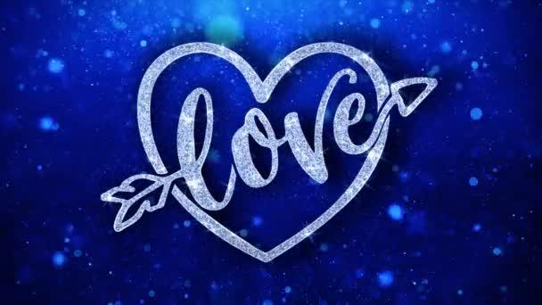 Milostné srdce modrý text přání částice pozdravy, pozvánka, pozadí oslavy