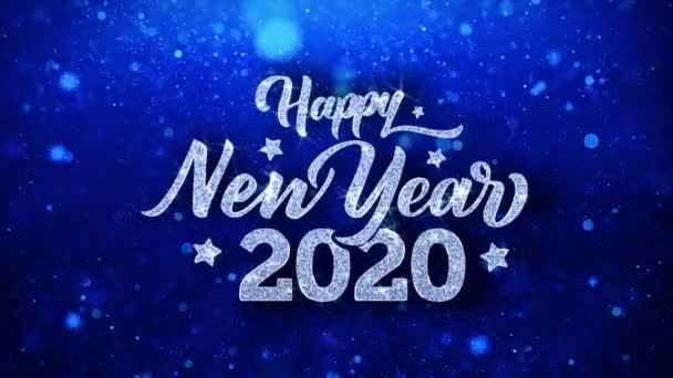 Šťastný nový rok 2020 modrý text přání částice pozdravy, pozvánka, pozadí oslavy