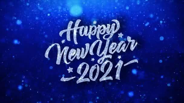 Šťastný nový rok 2021 modrý text přání částice pozdravy, pozvánka, pozadí oslavy