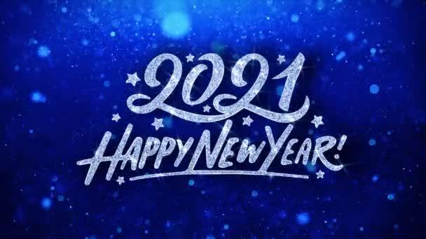 2021 boldog új évet kék szöveg kívánja részecskék köszöntések, meghívó, ünnepi háttér