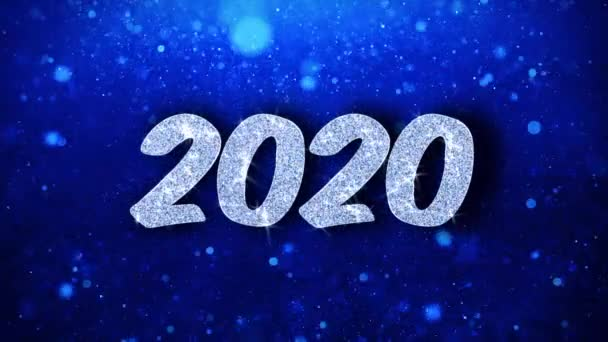 2020 boldog új évet kék szöveg kívánja részecskék köszöntések, meghívó, ünnepi háttér