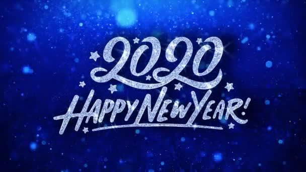 2020 šťastný nový rok modrý text přání částice pozdravy, pozvánka, pozadí oslavy