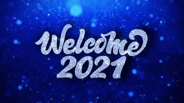 Üdvözöljük 2021 kék szöveg kívánja részecskék köszöntések, meghívó, ünnepi háttér