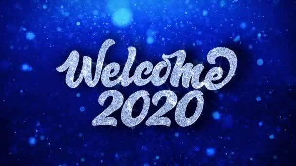 Vítejte 2020 modrý text přání částic pozdravy, pozvánka, pozadí oslavy