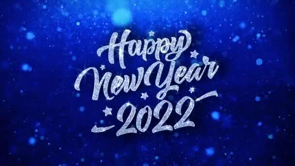 Šťastný nový rok 2022 modrý text přání částice pozdravy, pozvánka, pozadí oslavy