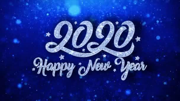 2020 frohes neues Jahr blauer Text wünscht Teilchen Grüße, Einladung, Feier Hintergrund