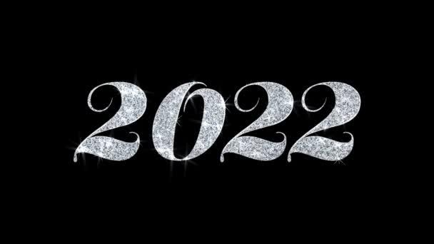 2022 frohes neues Jahr blinkender Text wünscht Teilchen Grüße, Einladung, Feier Hintergrund