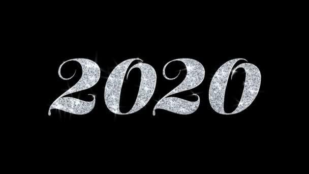2020 villogó szöveg kívánja részecskék köszöntések, meghívó, ünnepi háttér