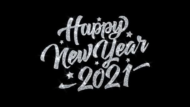 Boldog új évet 2021 villogó szöveg kívánja részecskék köszöntések, meghívó, ünnepi háttér