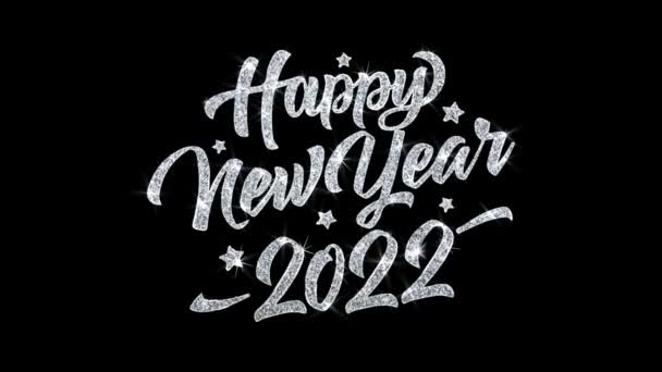 Boldog új évet 2022 villogó szöveg kívánja részecskék köszöntések, meghívó, ünnepi háttér