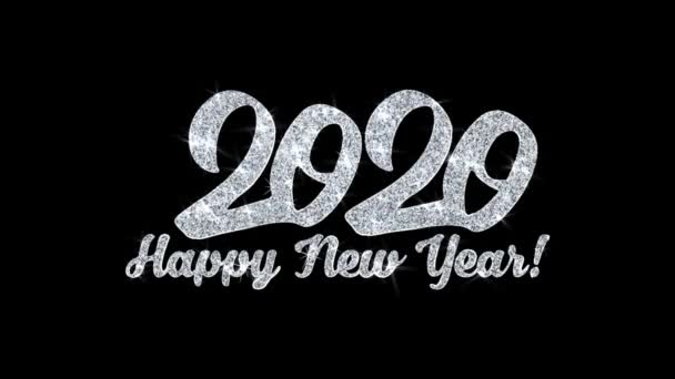 2020 šťastný nový rok blikající text přání částice pozdravy, pozvánka, pozadí oslavy