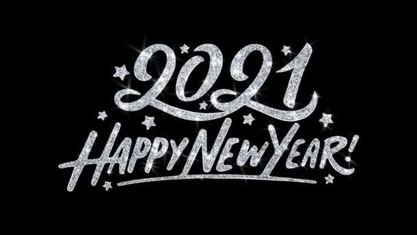 2021 boldog új évet villogó szöveg kívánja részecskék köszöntések, meghívó, ünnepi háttér