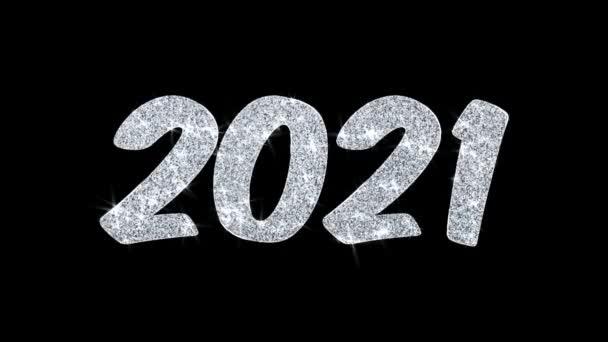 2021 frohes neues Jahr blinkender Text wünscht Teilchen Grüße, Einladung, Feier Hintergrund