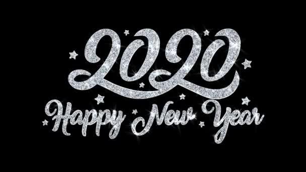 2020 frohes neues Jahr blinkender Text wünscht Teilchen Grüße, Einladung, Feier Hintergrund