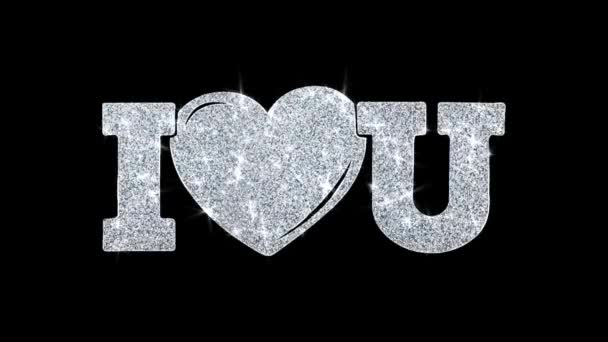 I Heart You Blinking Text Wishes Particles Greetings, Invitation, Celebration Background