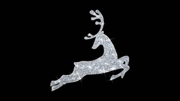 Christmas Ornament Santa Claus sleigh with deer Blinking Icon Particles