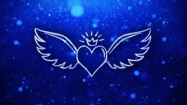 Srdce s blikajícím tvarem tvaru úhlu blikání ikona pozadí částic