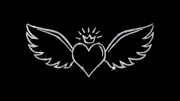 Heart with Angle Wings Shape Blinking Icon Particles Background