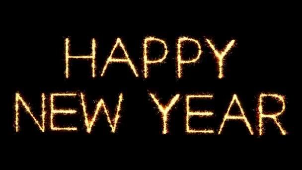 Happy New Year Text Sparkler Glitter Sparks Firework Loop Animation