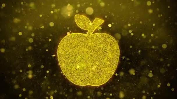 Apple Icon Golden Glitter Shine Particles.
