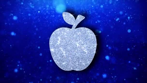 Apple Icon Blinking Glitter Glowing Shine Particles.