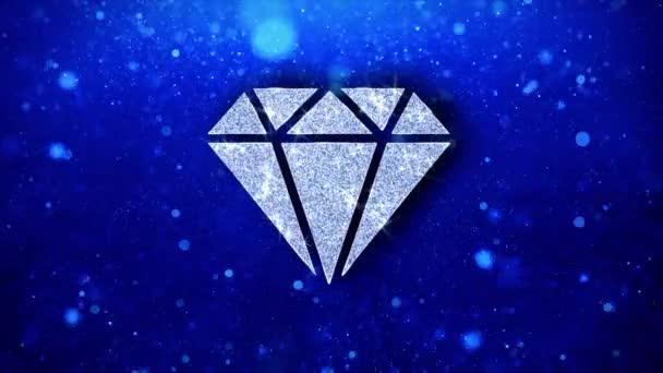 Diamant-Symbol blinkt glitzernde Glanzpartikel.