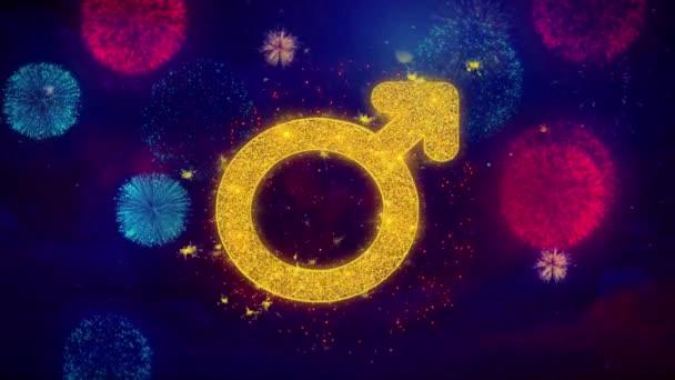 Nő jel nemek ikon Symbol a színes tűzijáték részecskék.
