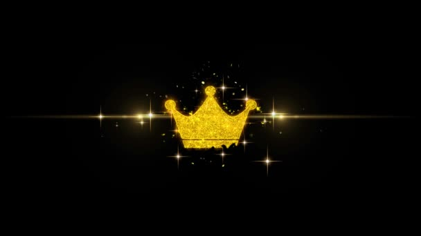 Queen Royalty Crown Icon on Glitter Golden Particles Firework.