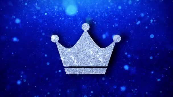 Queen Royalty Crown Icon Blinking Glitter Glowing Shine Particles.