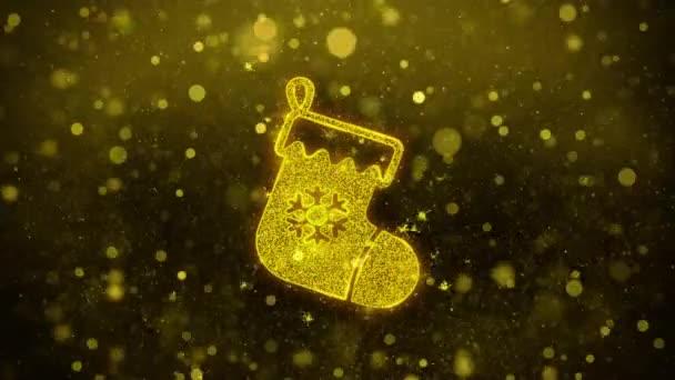 Karácsonyi harisnya piktogram zokni Icon Golden Glitter Shine részecskék.