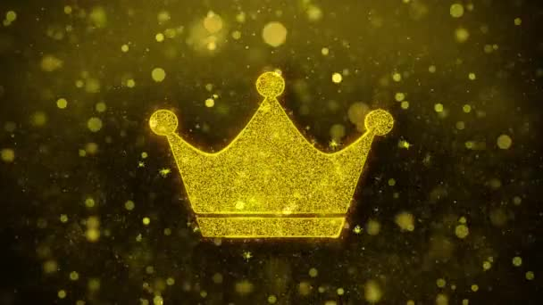 Queen Royalty Crown Icon Golden Glitter Shine Particles.
