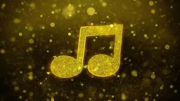 Zene Song akkord Icon Golden Glitter Shine részecskék.