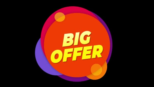 Big Offer Text Sticker Colorful Sale Popup Animation.
