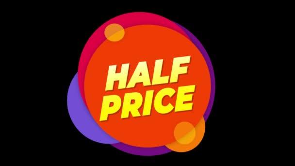 Poloviční cena text štítek barevný prodej místní nabídka animace.