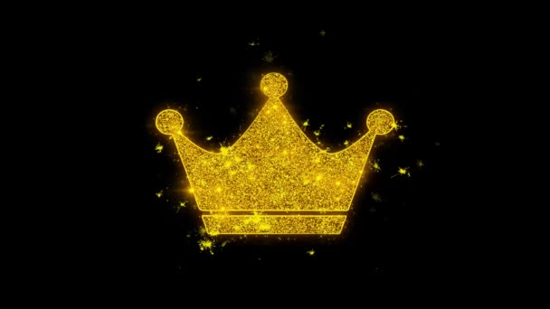 Queen Royalty Crown Icon Sparks Particles on Black Background.