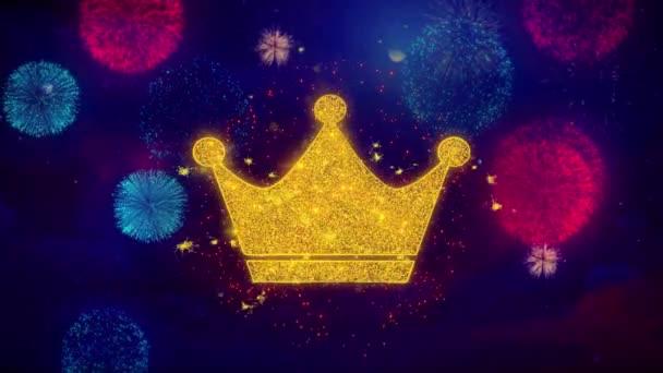 Královna královské koruny symbol koruna na barevných částicích Fireworks.