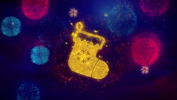 Karácsonyi harisnya piktogram zokni ikon Symbol színes tűzijátékok részecskék.
