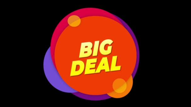 Big Deal Text Sticker Colorful Sale Popup Animation.