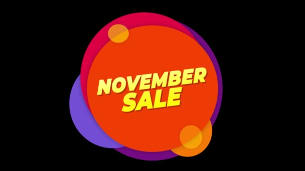 November Sale Text Sticker Colorful Sale Popup Animation.