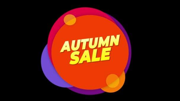 Herbst Verkauf Text Aufkleber bunten Verkauf Popup Animation.
