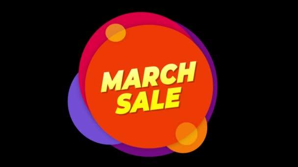 Březnový prodej text štítek barevný prodej místní nabídka animace.