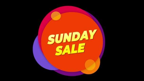 Vasárnap eladó szöveg matrica színes eladás popup animáció.