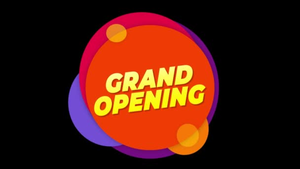 Grand Opening szöveg matrica színes eladás popup animáció.