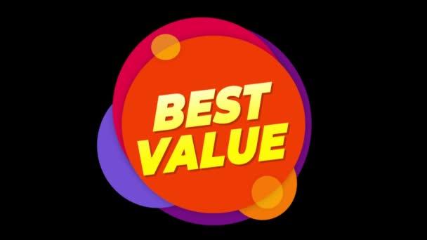 A legjobb érték szöveg matrica színes eladás popup animáció.